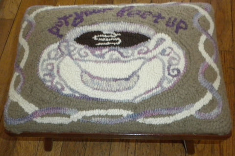 UTR-fs-080: Teacup, Writing - Country Footstool Pattern, Hooked by Carolyn Cooke