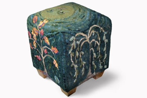 UTR-fs-201: Seasons - Cube Footstool Pattern, Hooked by Kim Nixon