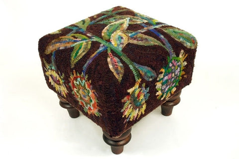 Sunflower - Square Footstool Pattern, rug hooked by Kim Nixon