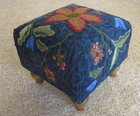 Crewel - Square Footstool Pattern, rug hooked by Patty Tyrrell