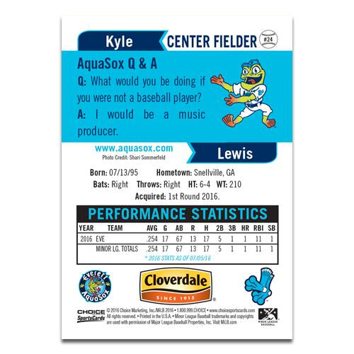 Everett AquaSox 2016 Baseball Card Set - Featuring KYLE LEWIS