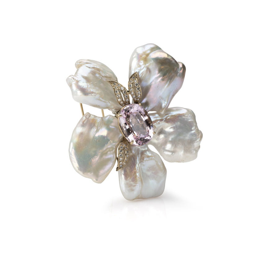 Pearl Flower Pin with Kunzite