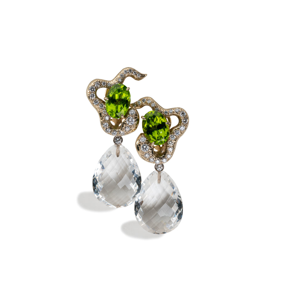 Pave open Snake earring with Peridot