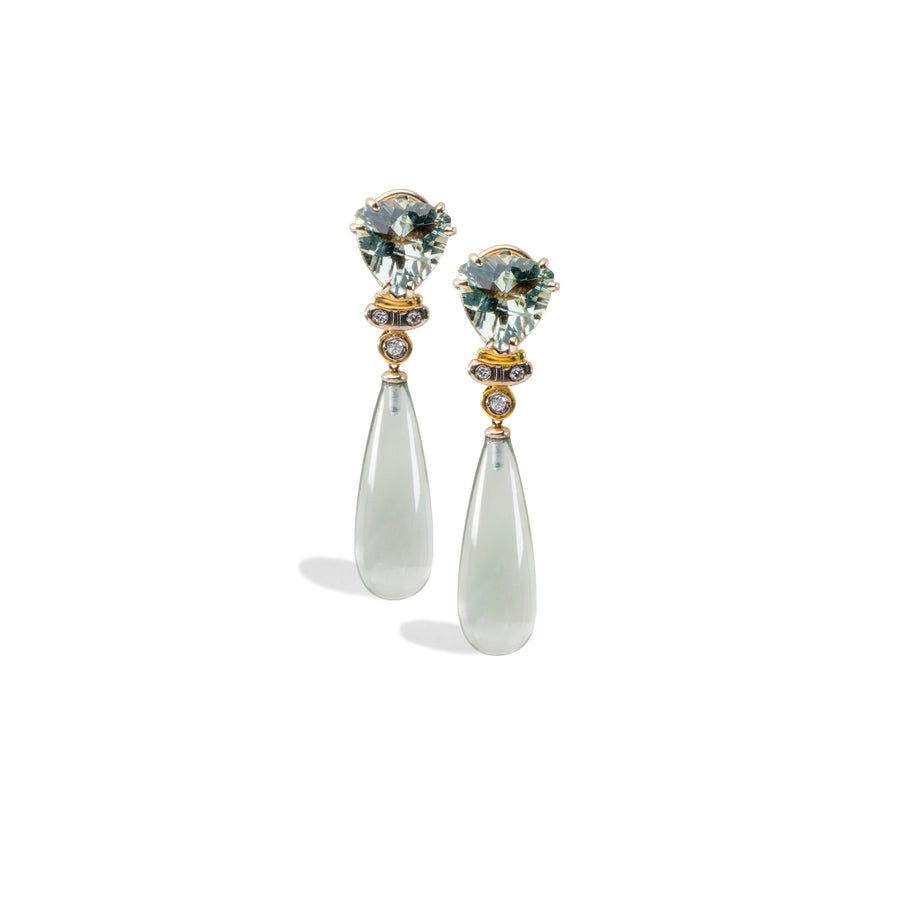 Green Amethyst dangle Earrings