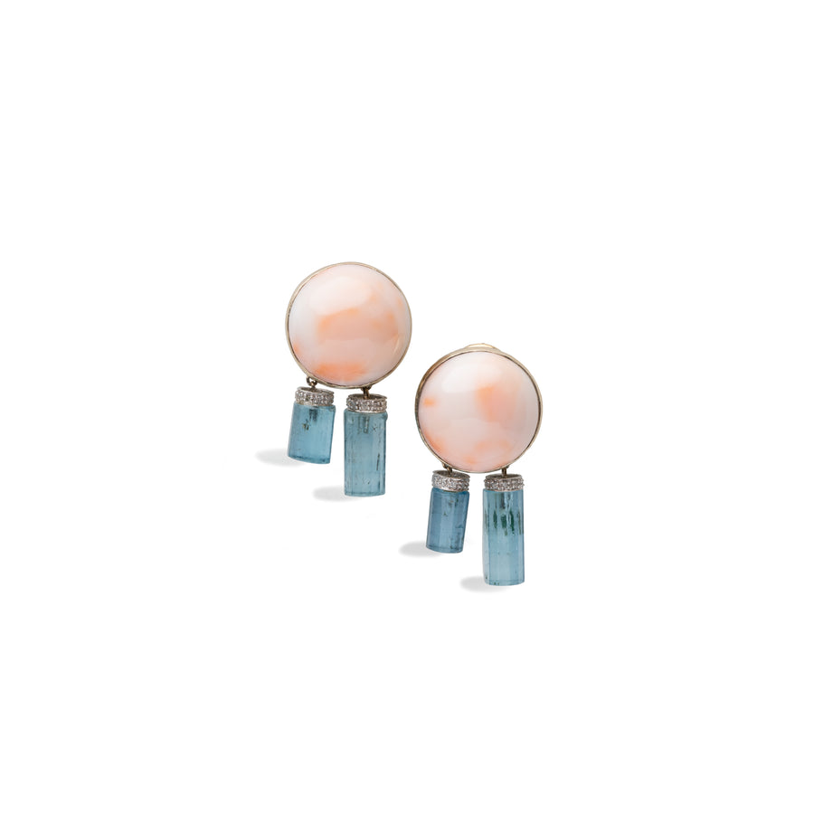 Angel skin Coral with Aqua Earrings