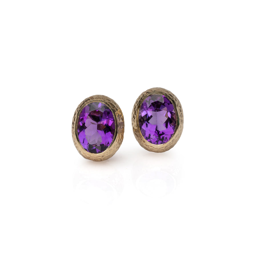 Hammered Gold Earrings with Amethyst