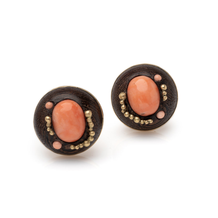 Rose-wood Earrings with Coral