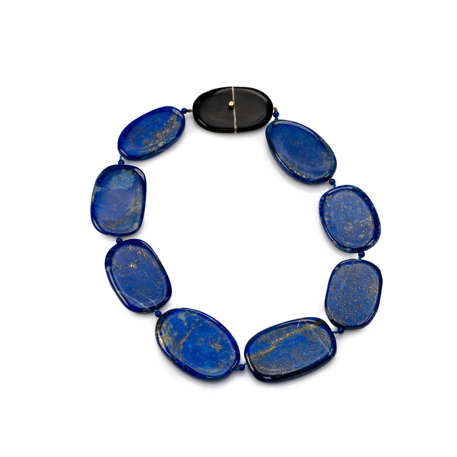 Flat Lapis bead Necklace