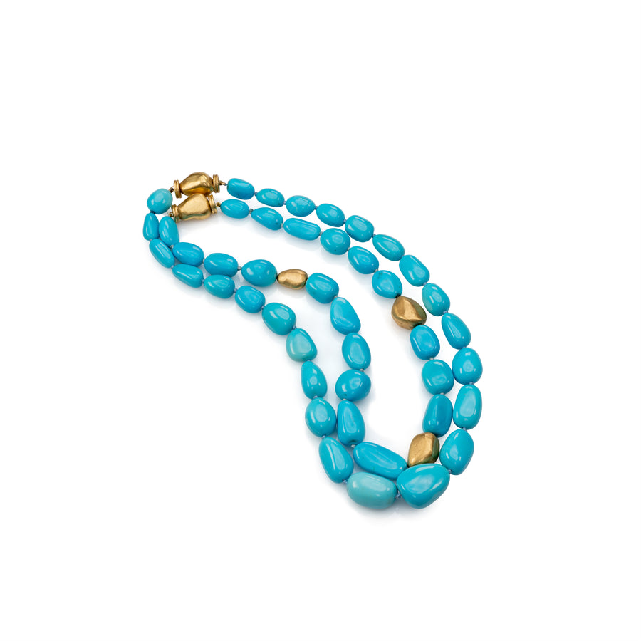 Nugget Turquoise Necklace with Gold Nugget Accents