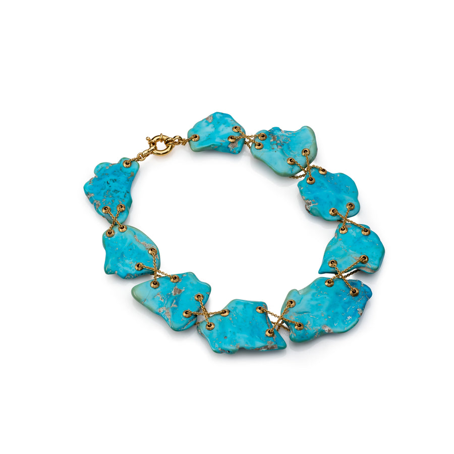 Flat Turquoise with Gold Chain