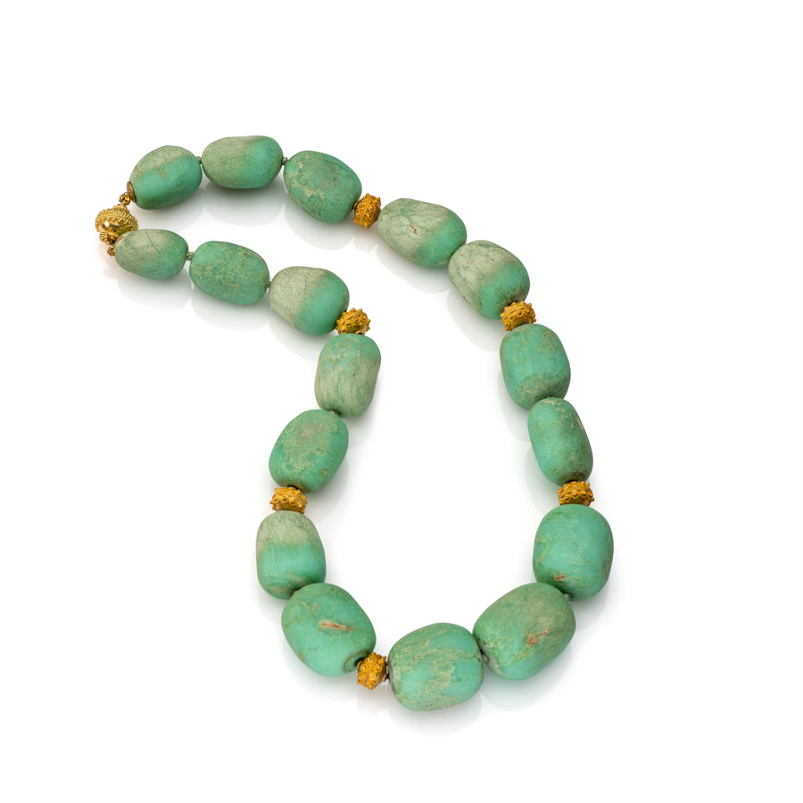 Tumbled Chrysoprase Necklace with gold accent