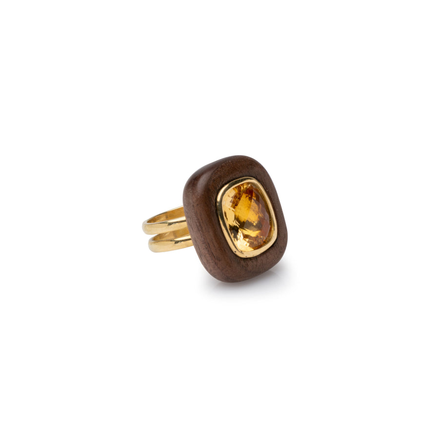 Walnut wood & Citrine ring