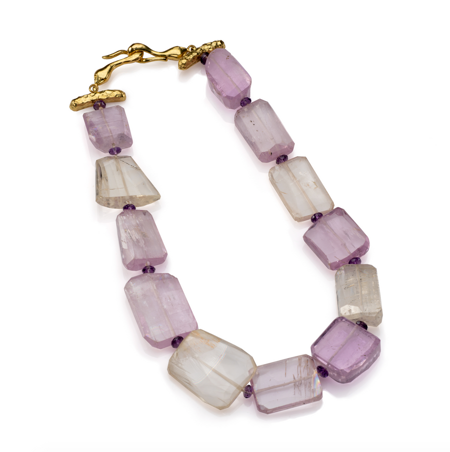 Flat faceted Kunzite Necklace