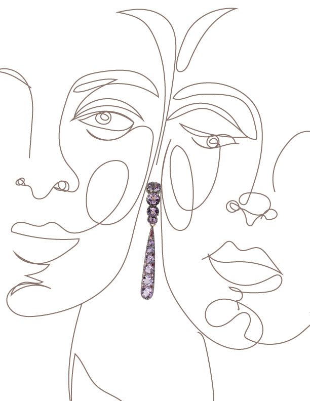 Pink Amethyst J-hoop Earrings