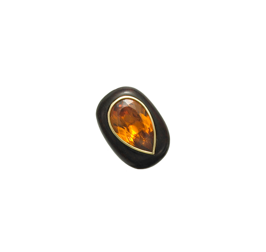 Rosewood Ring with Pear shaped Citrine