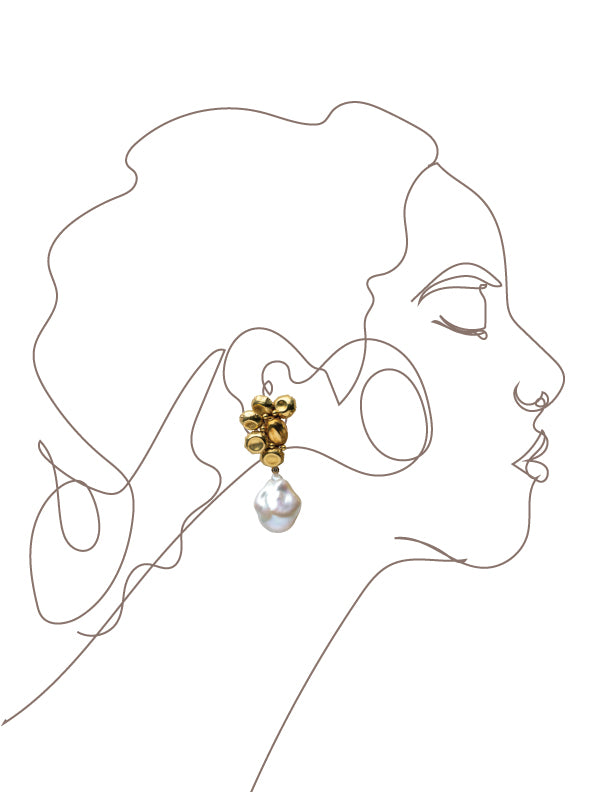 Gold cluster Earrings with drops