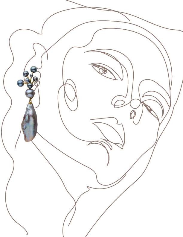 Gray Pearl Berry Earrings with Drops