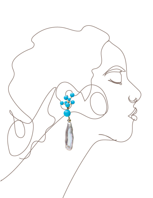 Turquoise Berry Earrings with Drops