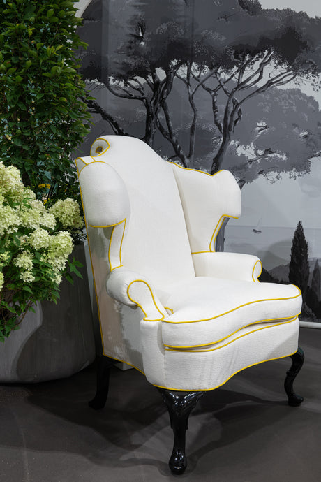 Scrolling English Wing Chair by Michael Tavano