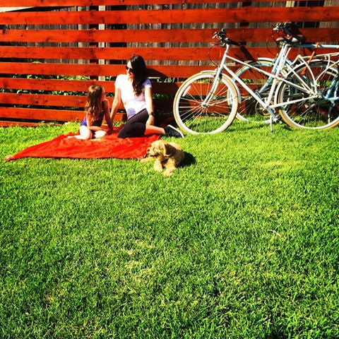 Monkey Mat in grass with bike