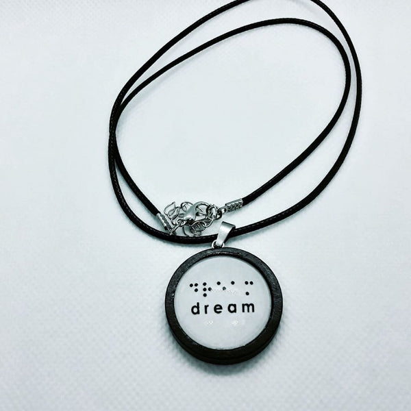 Wood necklace with Braille Dream