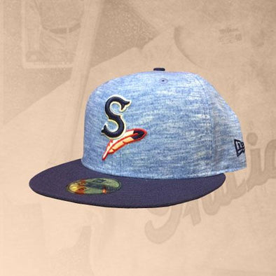 Spokane Indians Fitted Heather Blue w/Navy