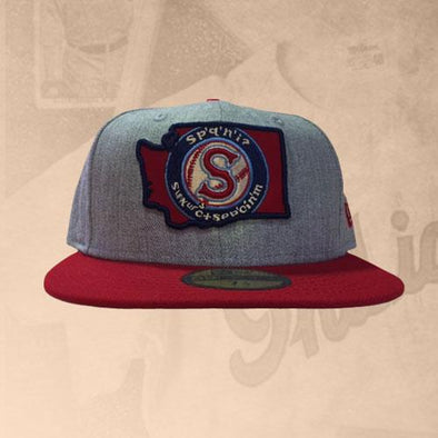 Spokane Indians Fitted Heather Gray w/Red Salish State Cap