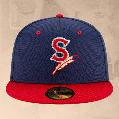 Spokane Indians Fitted BP Navy Home Logo Cap