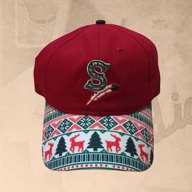 Spokane Indians Holiday Sweater Adj Red Cap