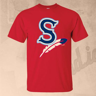 Spokane Indians Red Home Cap Logo Tee