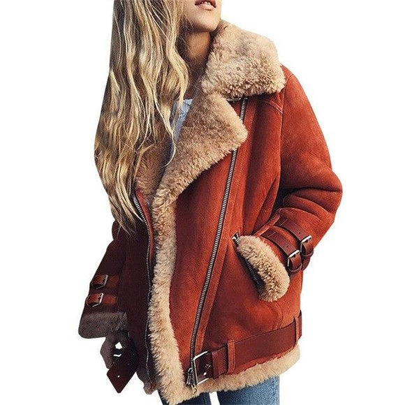 Winter Jacke-Faux Pelz Schlank