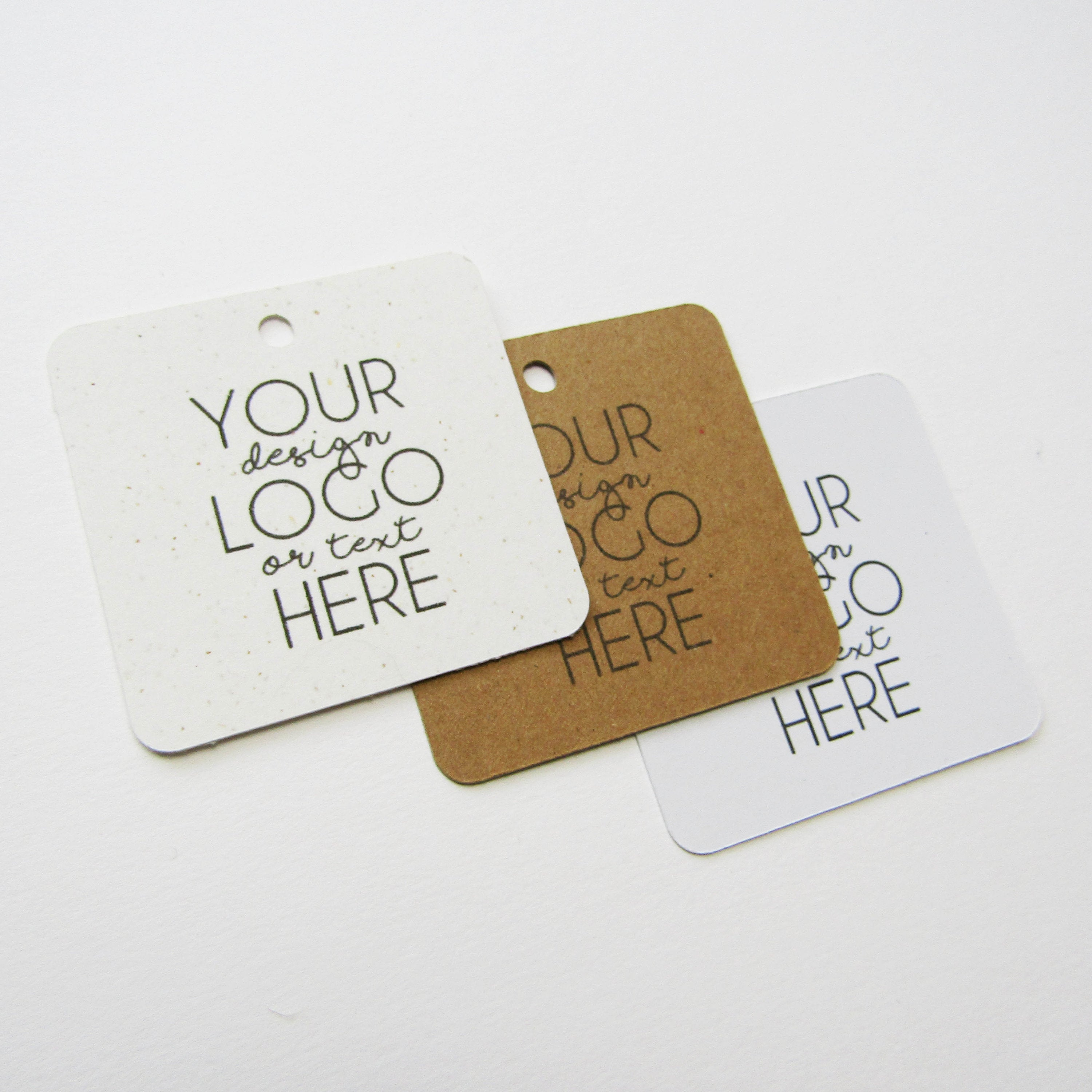10 Square Rounded Swing Tags With / Without Hemp Twine