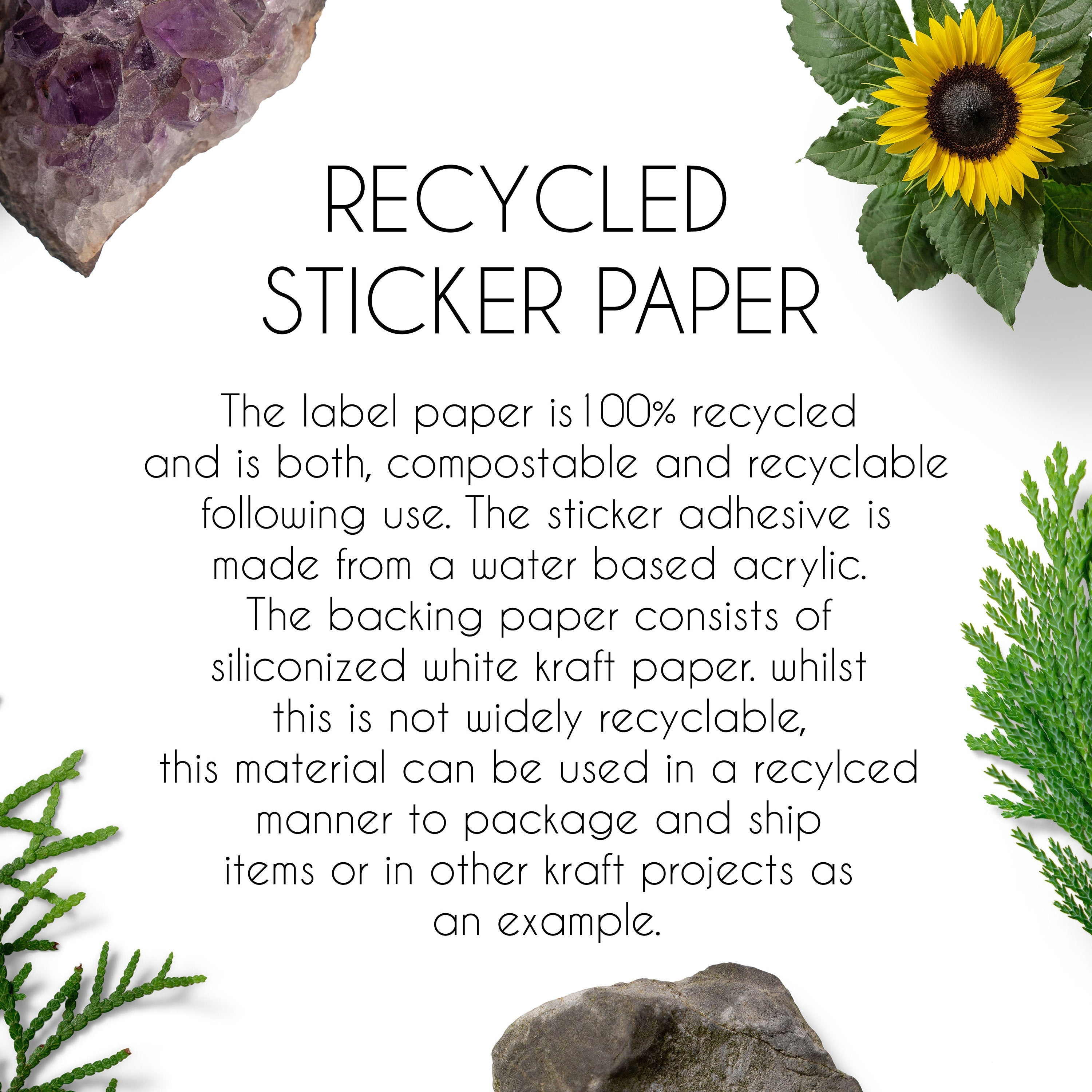 Large Return Address Recycled Paper Stickers