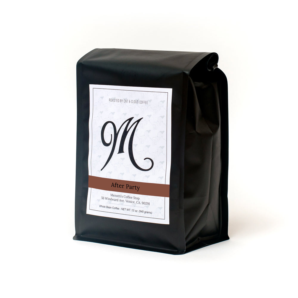 buy coffee. subscription. whole bean. espresso. french press. pour over. drip. after party. dark roast. left side view.