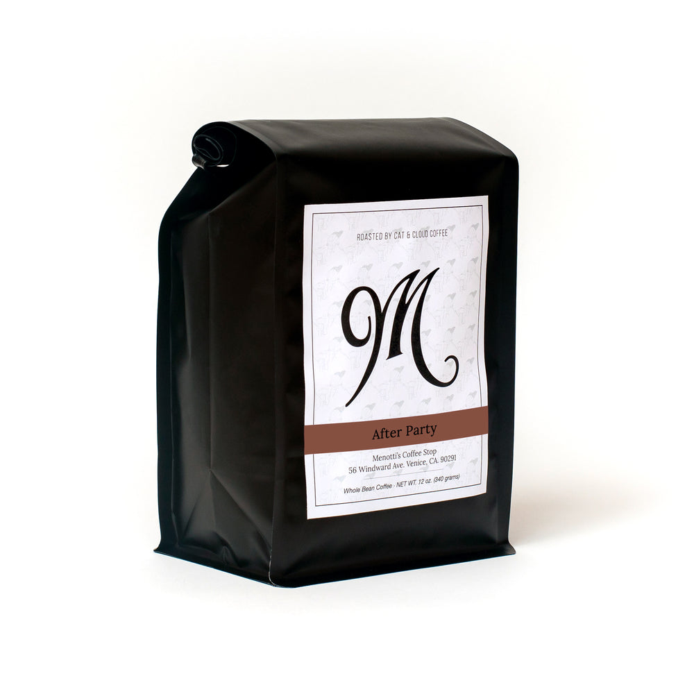 buy coffee. subscription. whole bean. espresso. french press. pour over. drip. after party. dark roastRight side view.