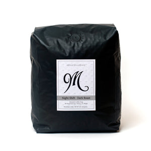 5 pound bag of Menotti's coffee beans. Night Shift, dark roast