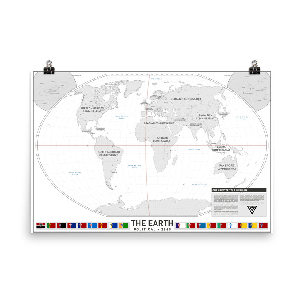 The Earth - Political Map 2665 | GTU Poster