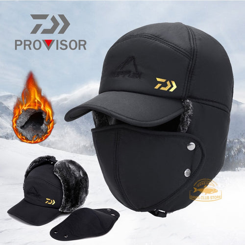 2020 DAIWA Fishing Winter Thermal Bomber Hats Men Women Fashion Ear Protection Face Windproof Ski Cap Velvet Thicken Couple Hat