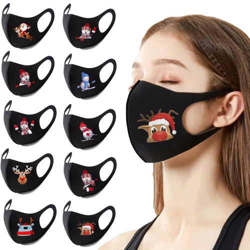 1pc Cotton Face Mouth Mask for Man Woman Adult Reusable Colorful Fabric Face Christmas Print Adult Neutral Washable Mask маска