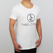 Man Wearing a White Third Citizen Logo Wide Crew Neck, Front