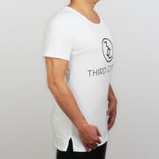 Man Wearing a White Third Citizen Logo Wide Crew Neck, Side