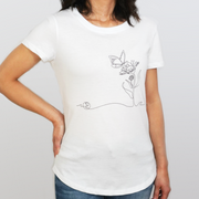 Woman Wearing a White Third Citizen Butterfly Line Art Crew Neck Luxury Designer T Shirt, Front