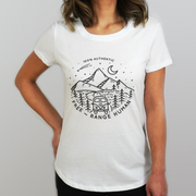Woman Wearing a White Third Citizen Free-Range Human Crew Neck Luxury Designer T Shirt, Front