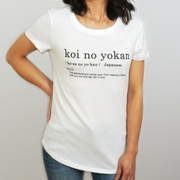 Woman Wearing a White Third Citizen Koi No Yokan Crew Neck Luxury Designer T Shirt, Front