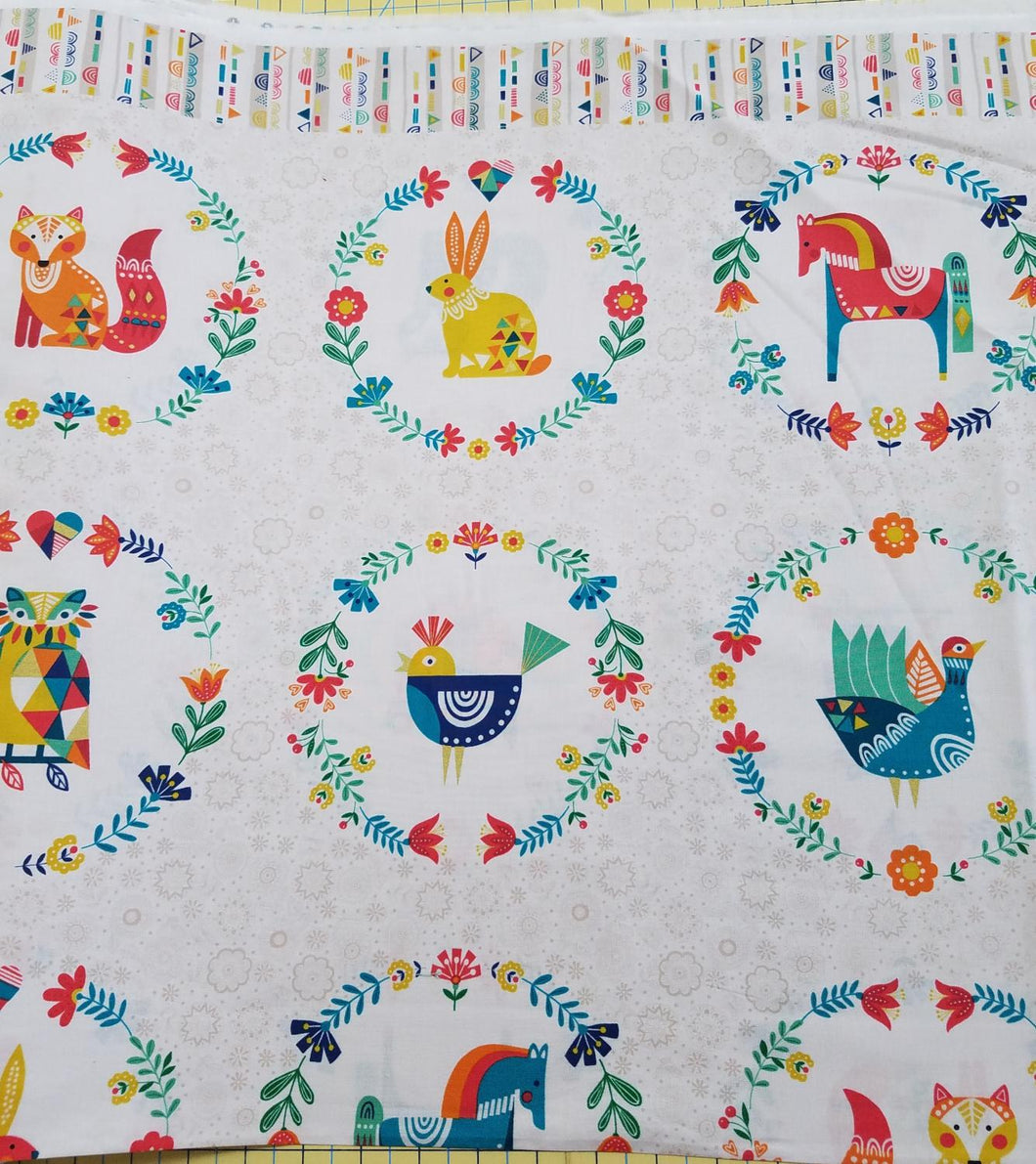 Folk Friends by Makower, Multi color Animals