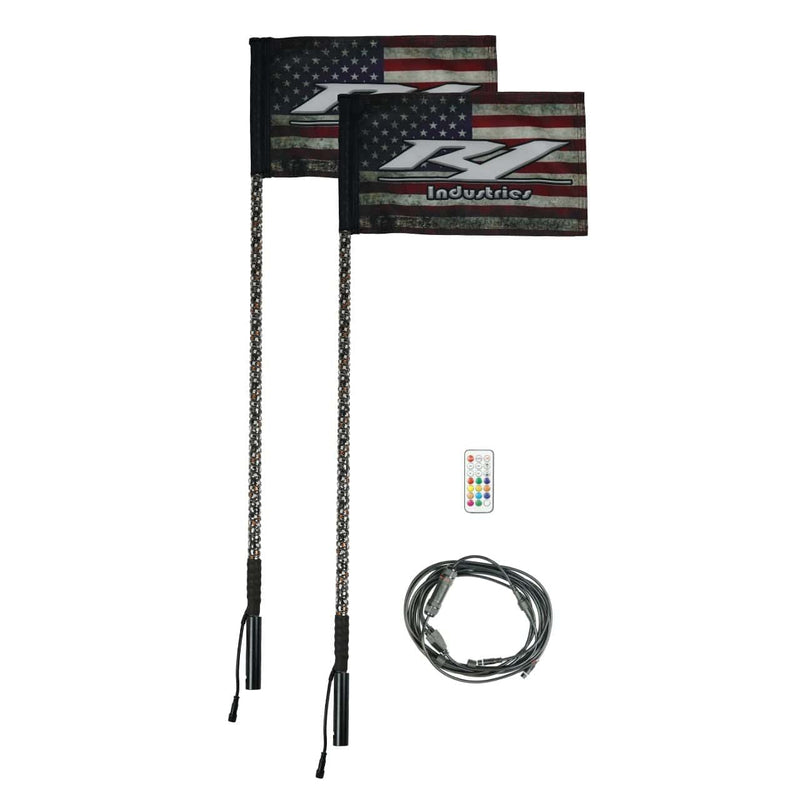 REMOTE 4 FOOT WILDCAT EXTREME LED LIGHT WHIPS (Gen 4 Pair) - R1 Industries whips
