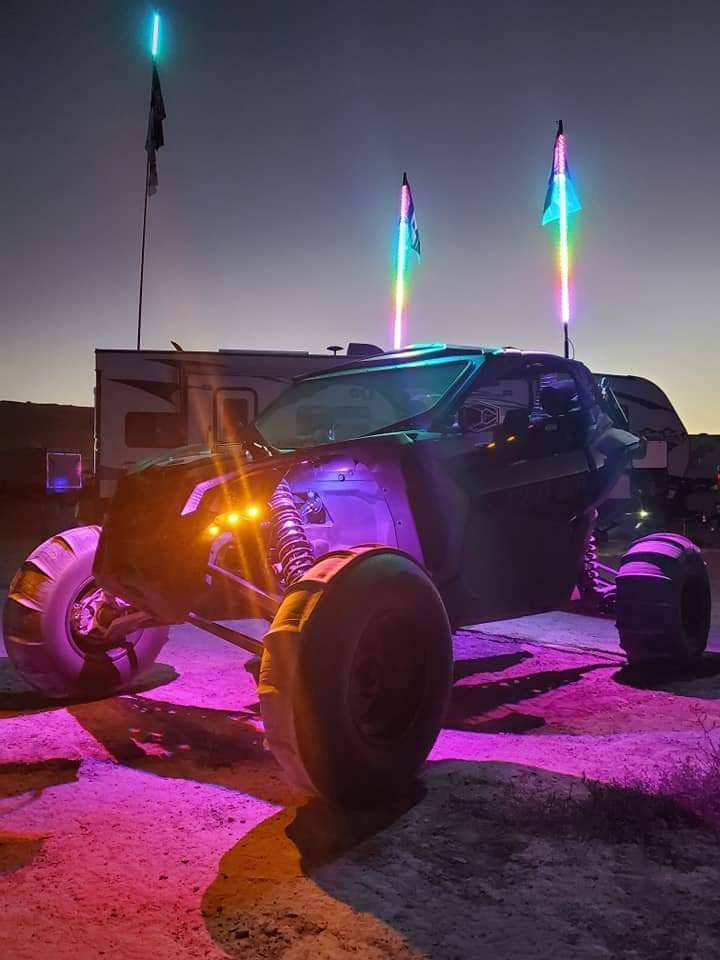 BLUETOOTH 3 FOOT WILDCAT EXTREME LED LIGHT WHIPS (Gen 4 Pair) - R1 Industries whips