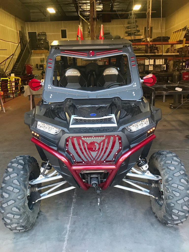Polaris RZR 1000XP Front Glass Windshield (fits 2014-18) Dirt Warrior Accessories - R1 Industries whips