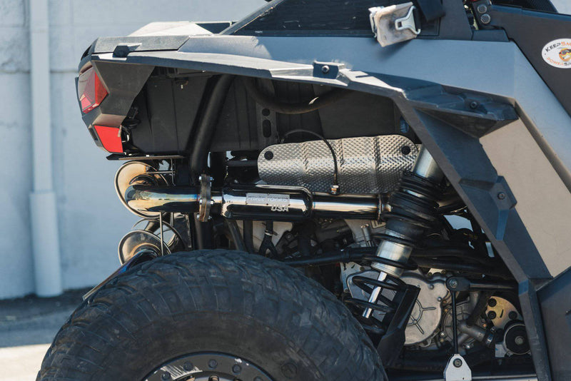 POLARIS RZR TURBO BACK EXHAUST WITH RESONATOR - R1 Industries whips