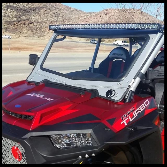 Polaris RZR 1000 Front Glass Windshield (fits 2014-18 Vent Racing Cage 4-Seat) - R1 Industries whips